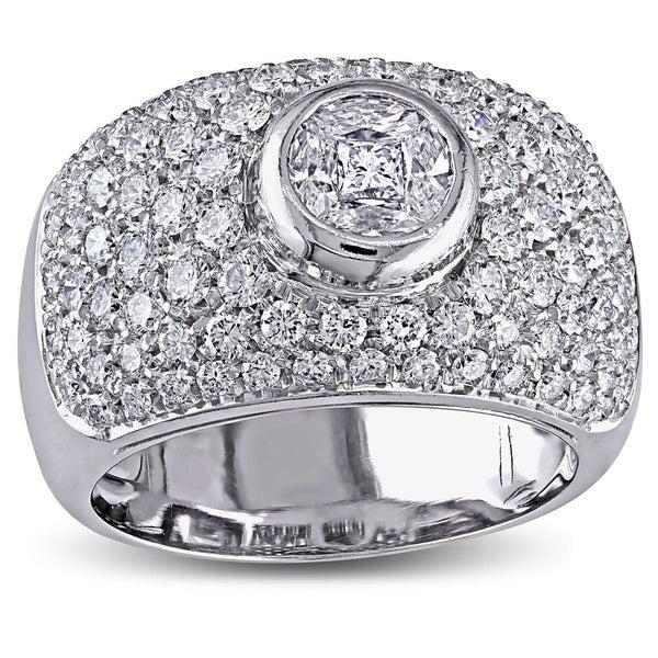 Miadora 18k White Gold 1-1/2ct TDW Bezel Set Pave Diamond Ring