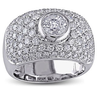 Miadora 18k White Gold 1-1/2ct TDW Bezel Set Pave Diamond Ring