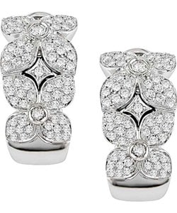 Miadora 18k White Gold 1ct TDW Diamond Flower Earrings