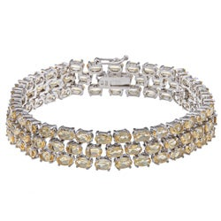 Glitzy Rocks Sterling Silver Citrine Three-tier Bracelet