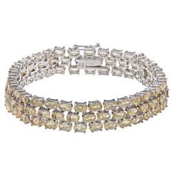 Glitzy Rocks Sterling Silver Citrine Three-tier Bracelet