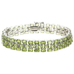 Glitzy Rocks Sterling Silver 25 5/8 CTW Peridot Three-tier Bracelet