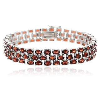 Glitzy Rocks Sterling Silver 28.5 CTW Genuine Garnet Three-tier Bracelet