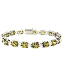 Icz Stonez Sterling Silver Olive and Clear CZ Tennis Bracelet