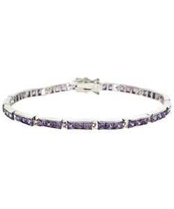 Icz Stonez Sterling Silver and Purple CZ Bracelet