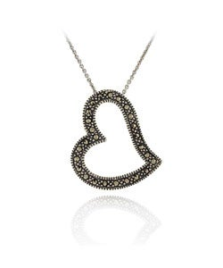 Glitzy Rocks Sterling Silver Genuine Marcasite Heart Necklace