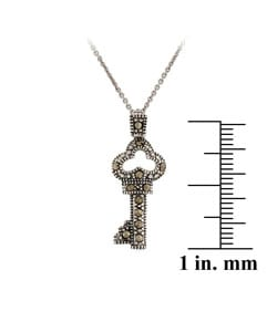 Glitzy Rocks Sterling Silver Marcasite Fairy Tale Key Necklace