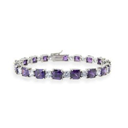 Icz Stonez Sterling Silver Purple and Lavender CZ Bracelet