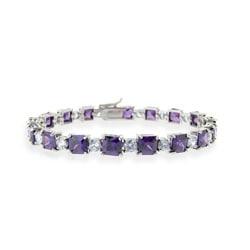 Icz Stonez Sterling Silver Purple and Lavender CZ Bracelet
