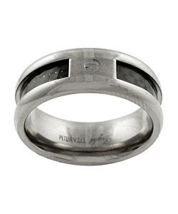 Titanium Carbon Weave Accent Ring