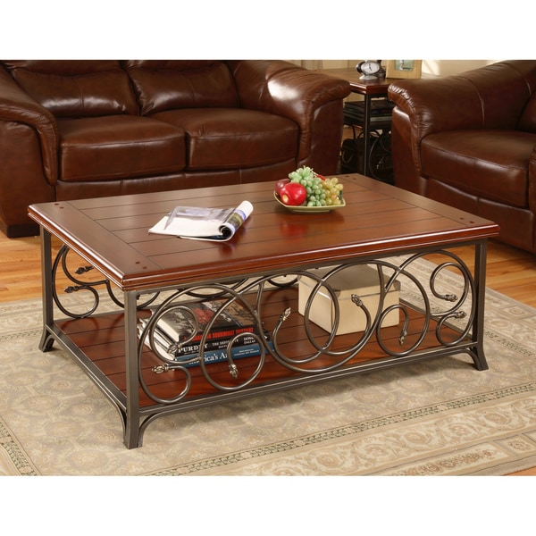 Aluminum And Wood Coffee Table: Scrolled Metal And Wood Coffee Table