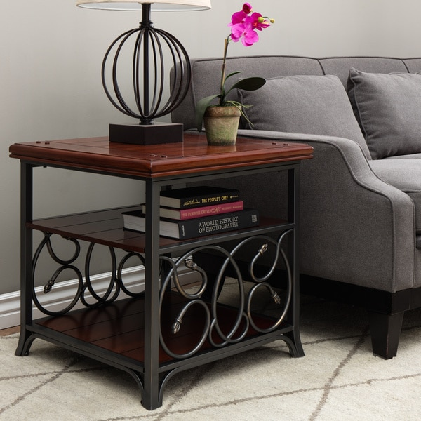 Scrolled Metal and Wood End Table