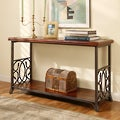 Scrolled Metal and Wood Sofa Table