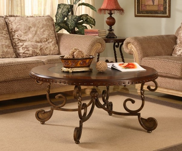 Nailhead Wood Inlay Coffee Table 10751189 Shopping Great Deals On Coffee