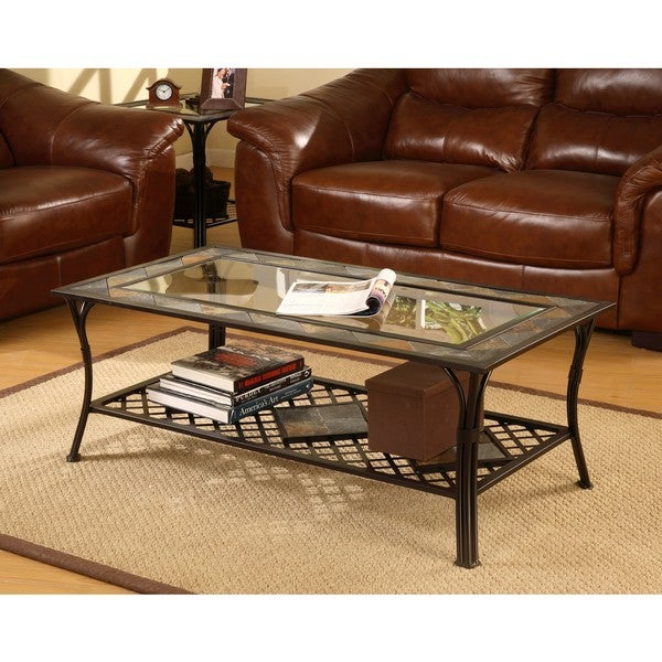 Slate/Glass/Steel Coffee Table