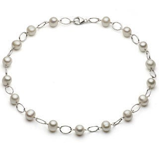 DaVonna Silver White 7-7.5mm FW Pearl Link Necklace (16 in) with Gift Box