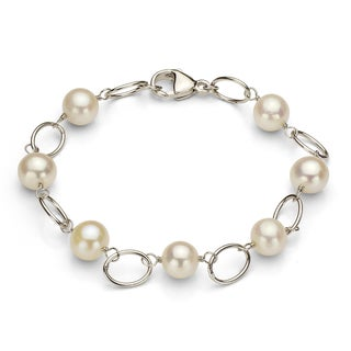 DaVonna Silver and White FW Pearl Link Bracelet (7-7.5 mm)