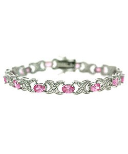 Icz Stonez Sterling Silver Pink CZ X and O Bracelet