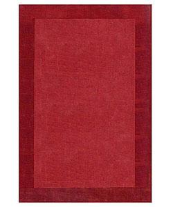 Hand-tufted Wine Border Wool Rug (8' x 10' 6)