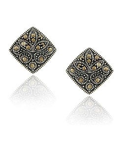 Glitzy Rocks Sterling Silver Genuine Marcasite Square Earrings