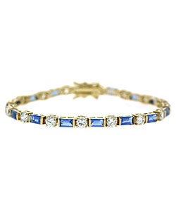 Icz Stonez 18k Gold over Sterling Silver Blue CZ Bracelet