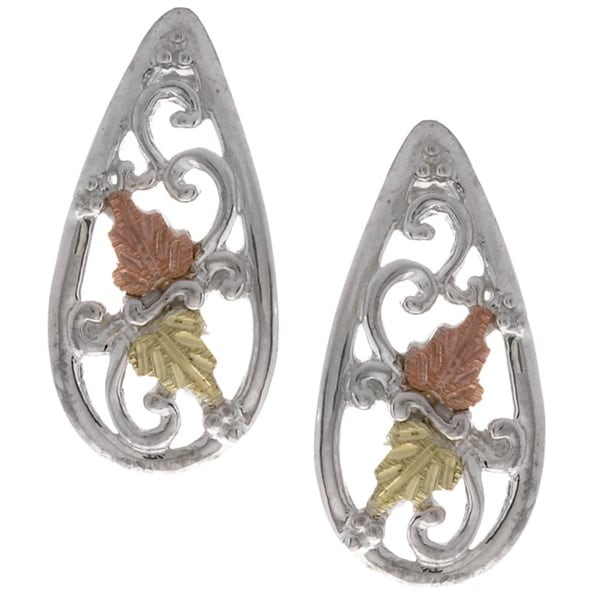 Black Hills Gold and Silver Teardrop Earrings