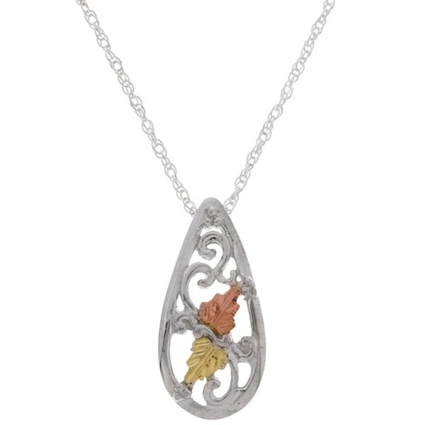 Black Hills Gold and Silver Teardrop Pendant