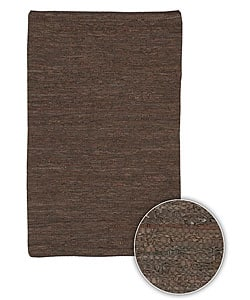 Hand-woven Mandara Natural Leather Rug (8' x 11')