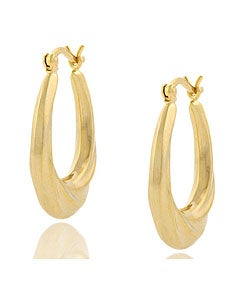 Mondevio 18k Gold over Sterling Silver Oval Twist Earrings