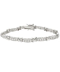 Icz Stonez Sterling Silver CZ X and Bar Bracelet