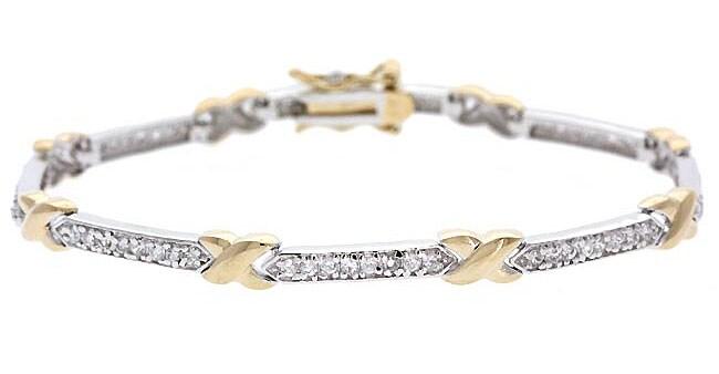 Icz Stonez 18k Gold Sterling Silver CZ X & O Tennis Bracelet