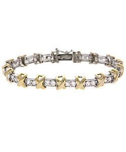 Icz Stonez 18k Gold over Sterling Silver CZ X-and-O Bracelet