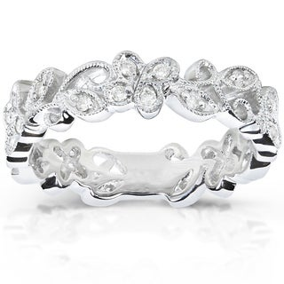 Annello 14k White Gold 1/5ct TDW Floral Diamond Band (H-I, I1-I2)
