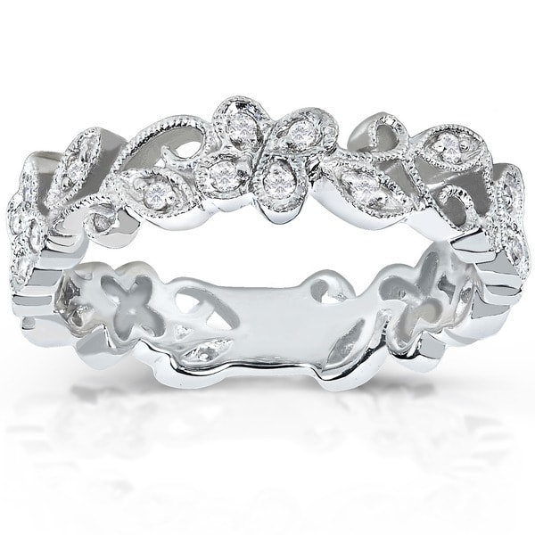 Annello 14k White Gold 1/5ct TDW Floral Diamond Band (H-I, I1-I2)