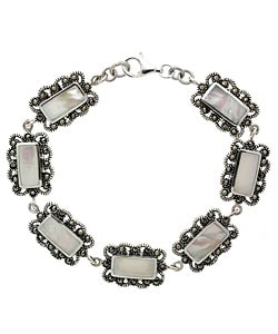Glitzy Rocks Sterling Silver Mother of Pearl Marcasite Bracelet
