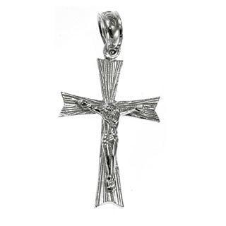 14k White Gold Crucifix Charm