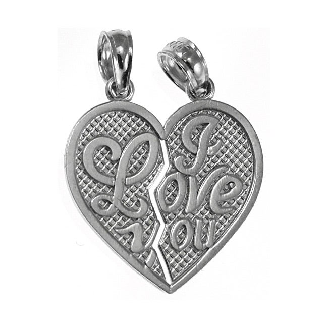 14k White Gold Breakable Heart Charm