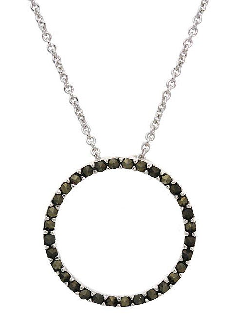 Glitzy Rocks Sterling Silver Marcasite Eternity Circle Necklace