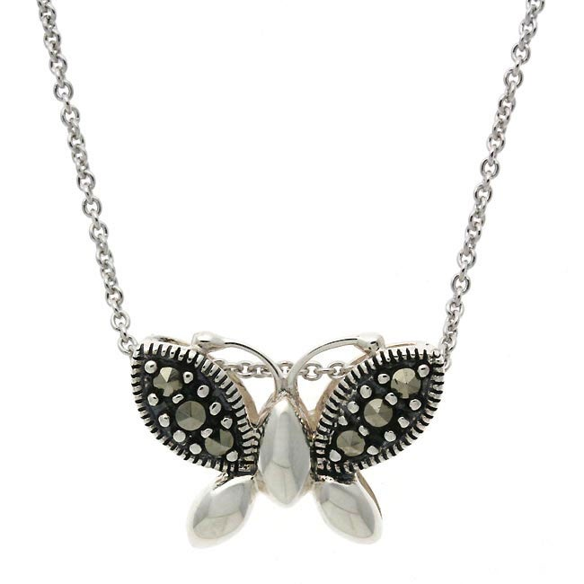 Glitzy Rocks Sterling Silver Marcasite Butterfly Necklace