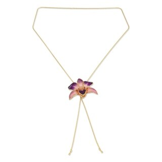 Pink Perfection Preserved 24K Gold Plated Natural Dendrobium Purple Orchid on Long Chain Womens Lariat Necklace (Thailand)