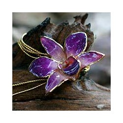 Pink Perfection Gold-plated Orchid Necklace (Thailand)
