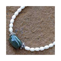 Purity and Love Pearl and Jade Necklace (Thailand)