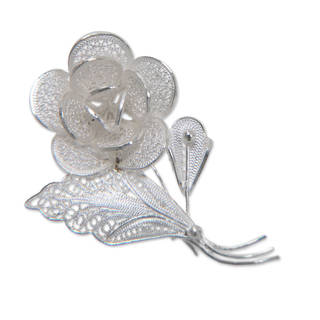 Sweetheart Rose Delicate Ornamental Vintage Look Lace Like Artisan Pin in 925 Sterling Silver Filigree Womens Brooch (Indonesia)