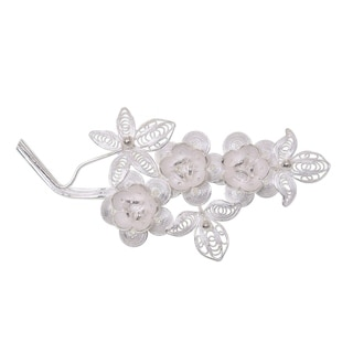 Eve's Bouquet Romantic Lace Like Feminine Flower Theme Vintage Look 925 Sterling Silver Filigree Womens Brooch (Indonesia)