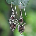 Sterling Silver Crown Princess Garnet Earrings (Indonesia)