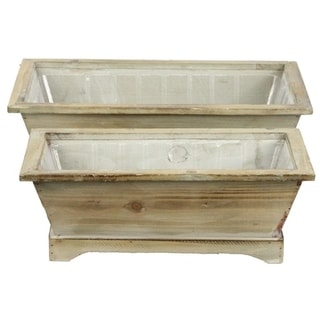 Set of 2 Rustic wood long rectanle planters w/ hard liner