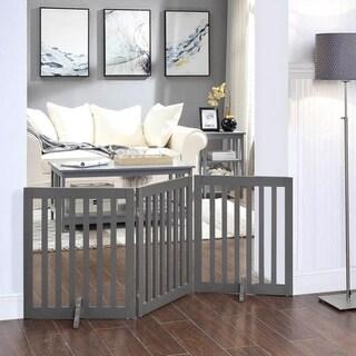 Unipaws Freestanding Pet Gate Wooden Dog Gate 2PCS Support Feet