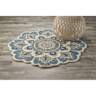 LR Home Dazzle Hand Tufted Edged Floral Wool Rug