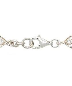 Glitzy Rocks Sterling Silver Marcasite Red CZ Leaf Bracelet