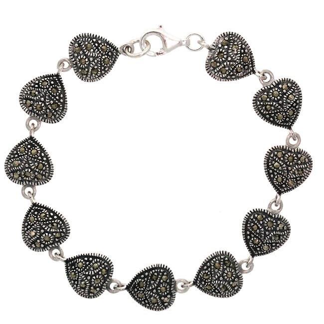 Glitzy Rocks Sterling Silver Marcasite Heart Bracelet